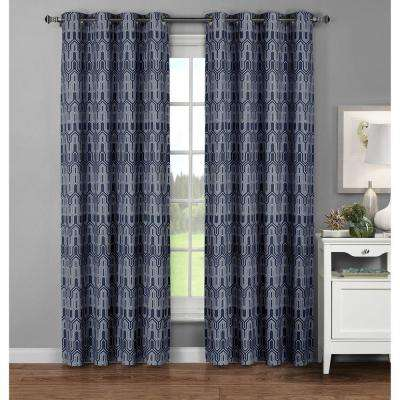 Semi-Opaque Juneau Printed Cotton Extra Wide 96 in. L Grommet Curtain Panel Pair, Blue (Set of 2)