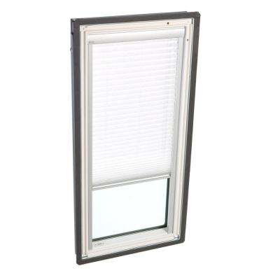 30-1/16 in. x 37-7/8 in. Fixed Deck-Mount Skylight with Laminated Low-E3 Glass and White Manual Light Filtering Blind