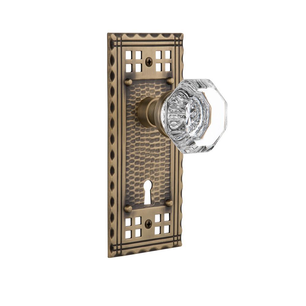 Craftsman Plate with Keyhole Single Dummy Waldorf Door Knob in Antique Brass