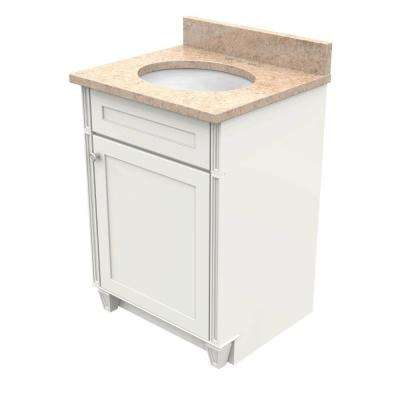 24 In. Vanity In Dove White With Natural Quartz Vanity Top In Khaki Cream  And