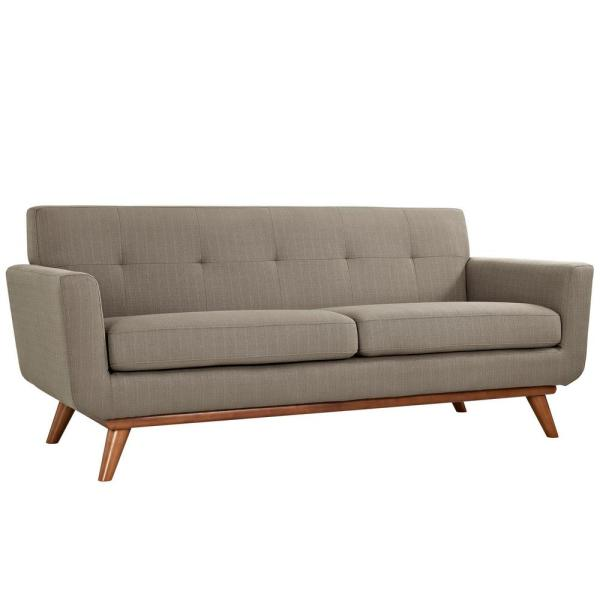 Engage 78 in. Granite Polyester 2-Seater Loveseat with Wood Legs