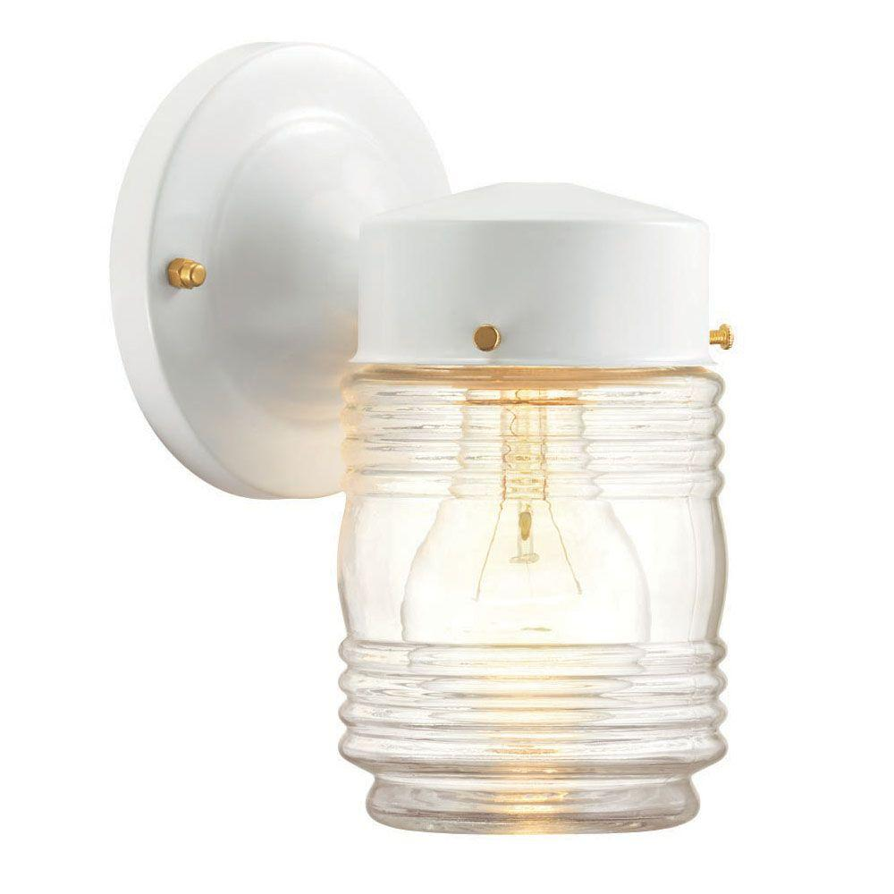 Hampton bay 1 light matte black outdoor jelly jar wall light hampton bay 1 light matte black outdoor jelly jar wall light wb0317 the home depot arubaitofo Image collections