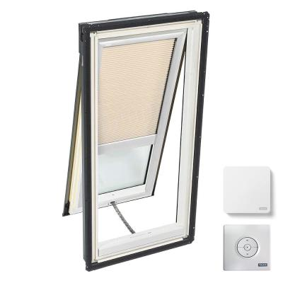 21 in. x 45-3/4 in. Venting Deck Mount Skylight with Laminated Low-E3 Glass and Beige Solar Powered Room Darkening Blind
