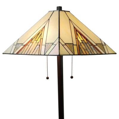 Tiffany 62 in. Ivory & Tan Standing Floor Lamp with Stained Glass Shade