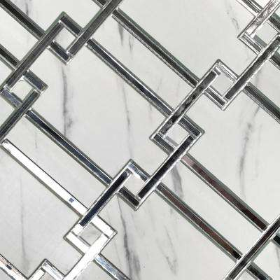 Nature Carrara White Versailles Mosaic 10 in. x 11 in. Glass & Acrylic Wall Tile (0.76 Sq. ft / Sheet)