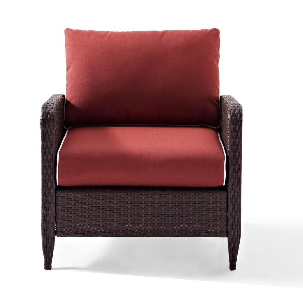 Crosley Kiawah Wicker Outdoor Lounge Chair with Sangria Cushions