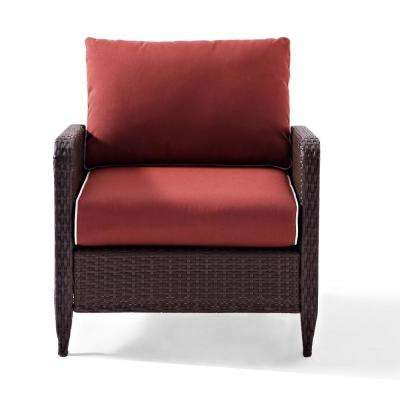 Kiawah Wicker Outdoor Lounge Chair with Sangria Cushions