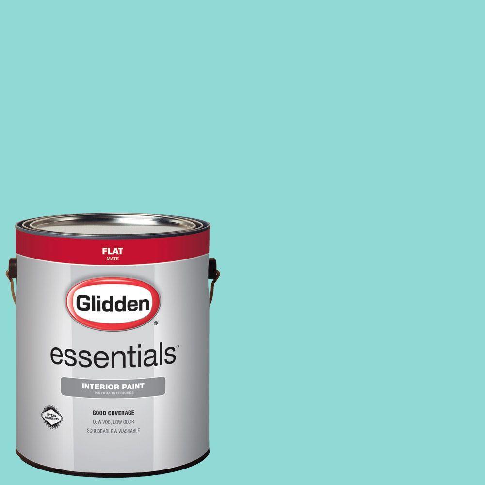 Glidden Essentials 1 gal. #HDGB15 Echo Lake Aqua Flat Interior Paint
