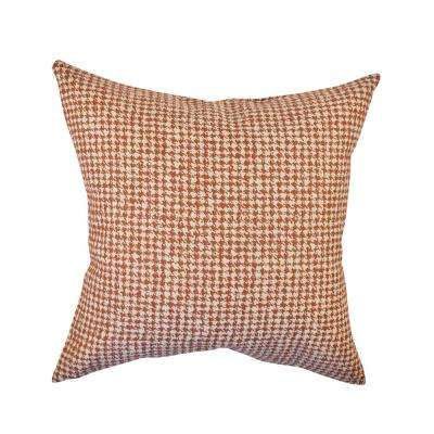 Orange Houndstooth Woven Throw Pillow