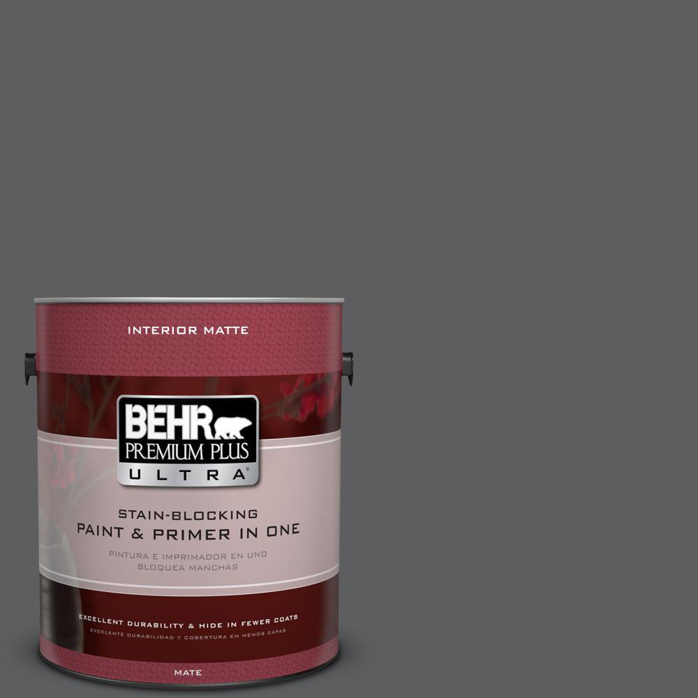 BEHR Premium Plus Ultra 1 Gal. #N500 6 Graphic Charcoal Matte Interior Paint