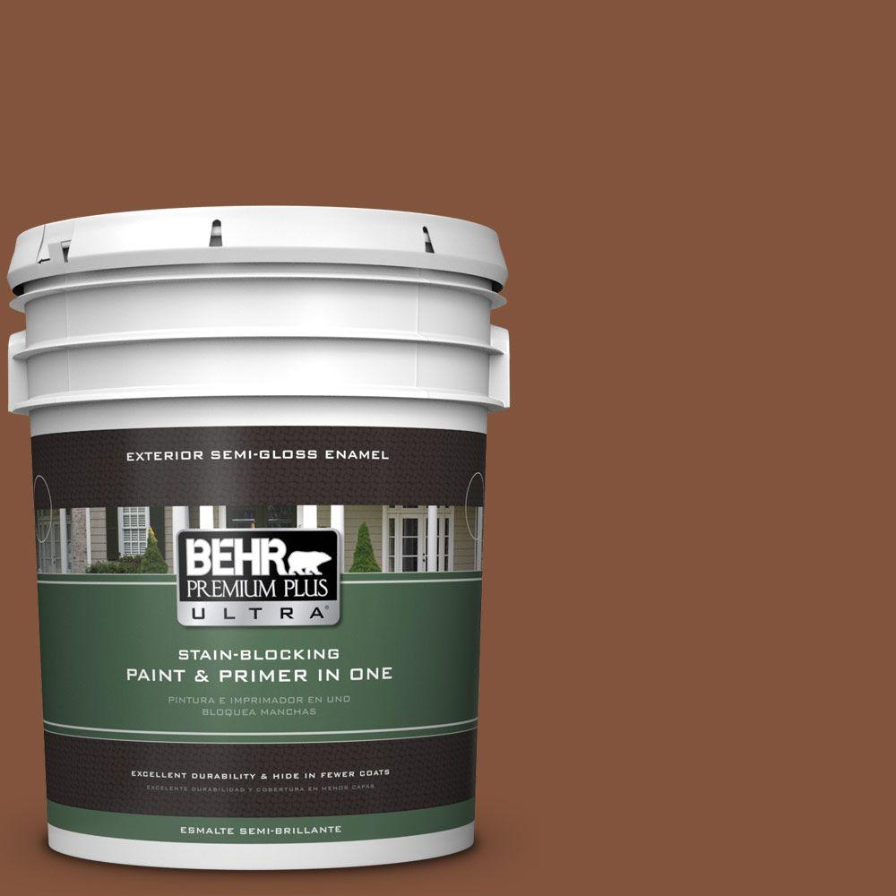 5-gal. #230F-7 Florence Brown Semi-Gloss Enamel Exterior Paint