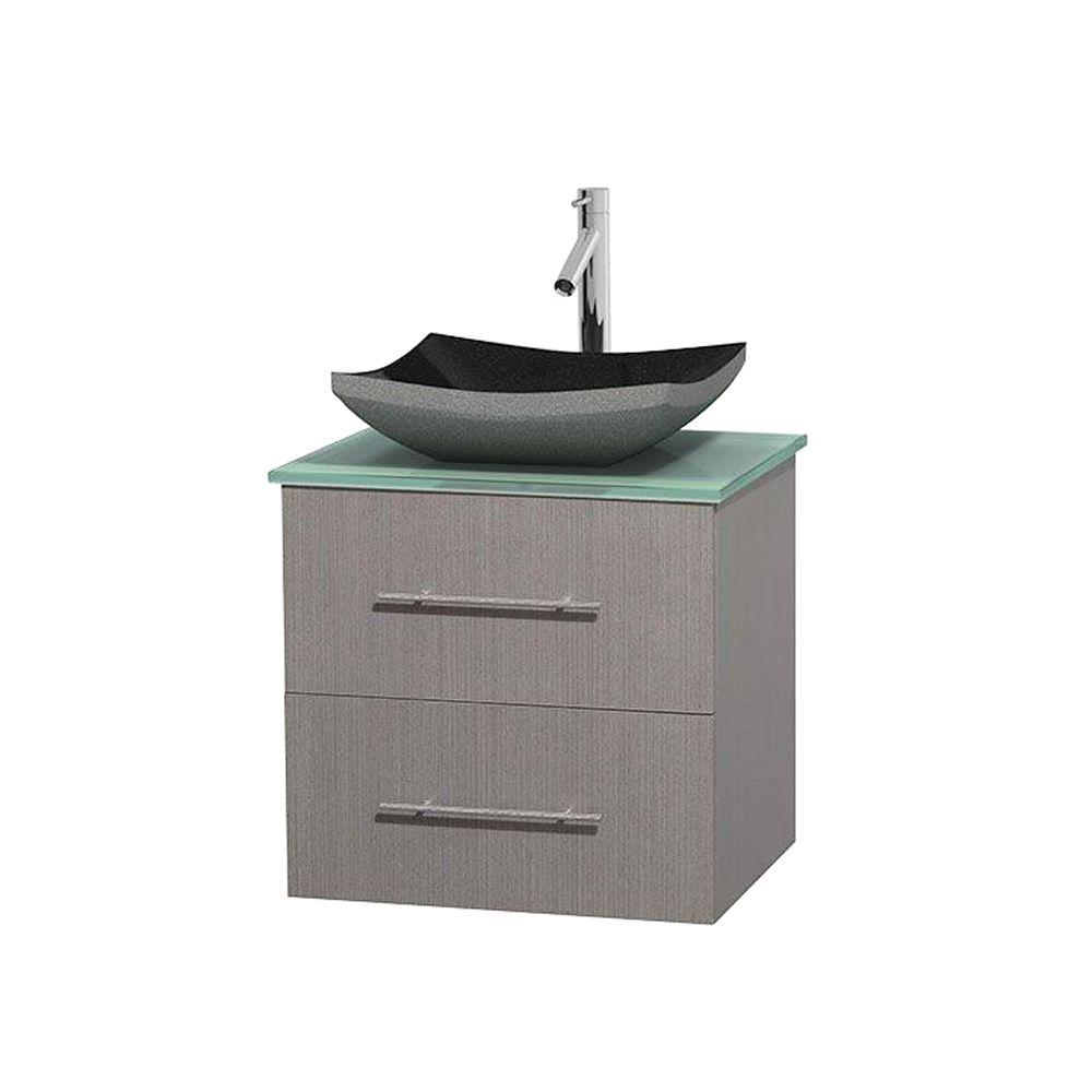 Wyndham Collection Centra 24 in. Vanity in Gray Oak with Glass Vanity Top in Green and Black Granite Sink