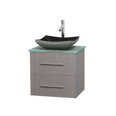 Centra 24 in. Vanity in Gray Oak with Glass Vanity Top in Green and Black Granite Sink