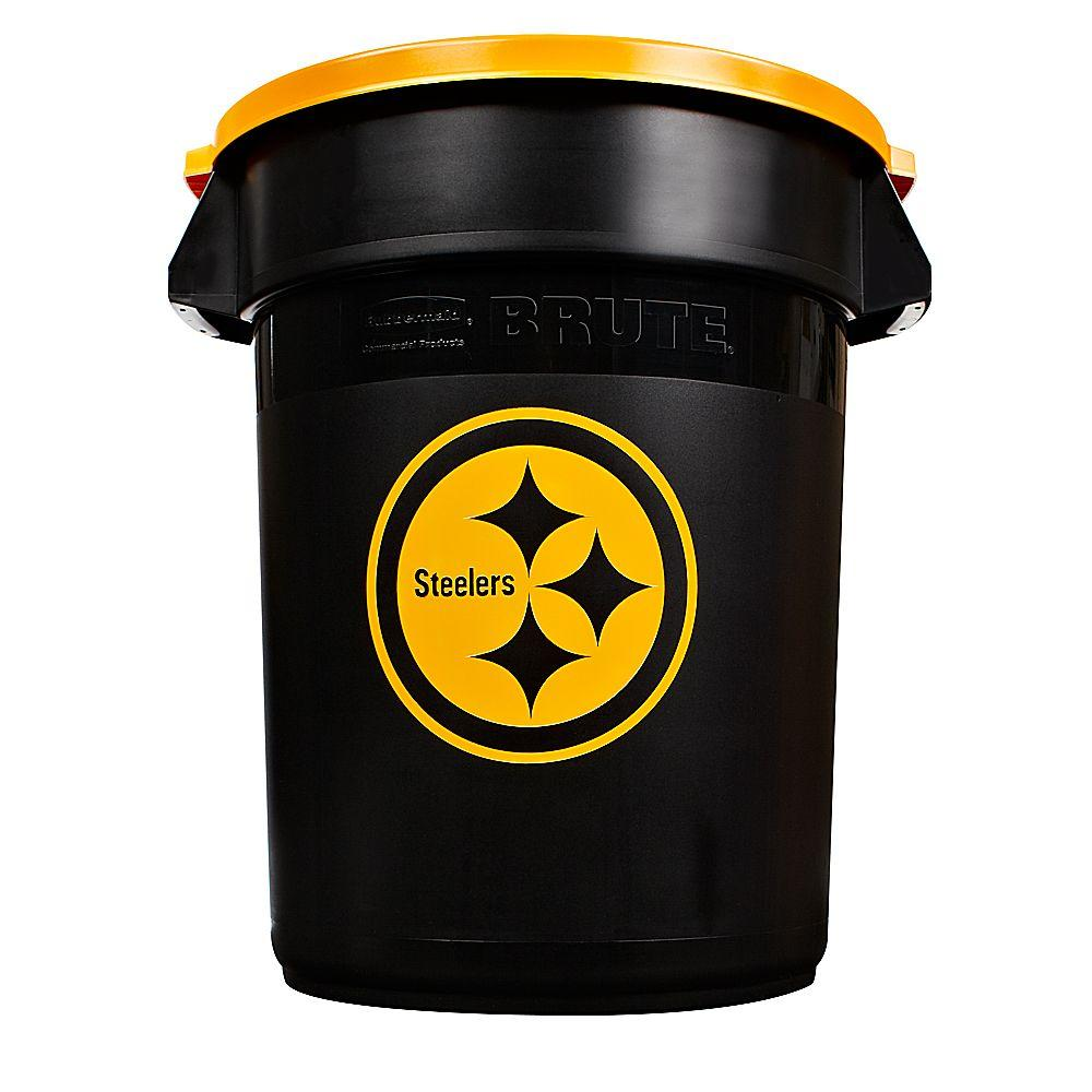 Rubbermaid Commercial Products NFL Brute 32 gal. Pittsburgh Steelers Trash Container with Lid