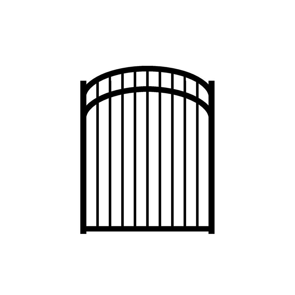 Jerith Jefferson 4 ft. W x 5 ft. H Black Aluminum 3-Rail Arched Fence Gate