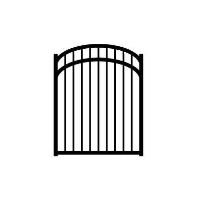 Jefferson 4 ft. W x 5 ft. H Black Aluminum 3-Rail Arched Fence Gate