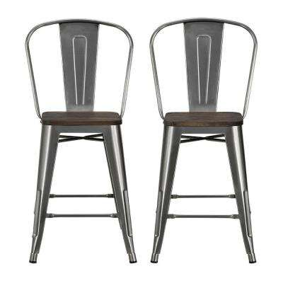Lena 24 in. Antique Gun Metal, Metal Counter Stool with Wood Seat (Set of 2)