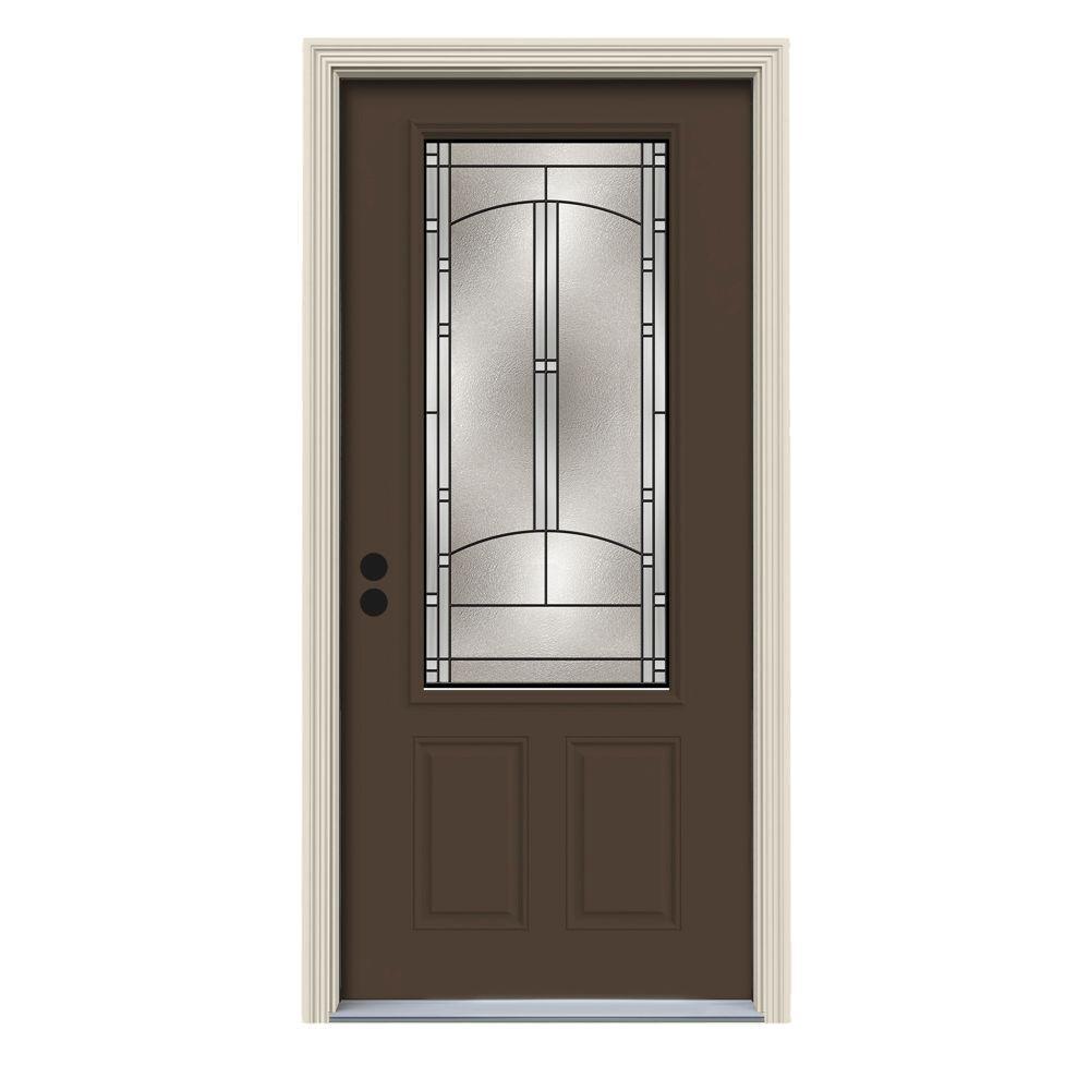 34 in. x 80 in. 3/4 Lite Idlewild Dark Chocolate Painted Steel Prehung Right-Hand Inswing Front Door w/Brickmould