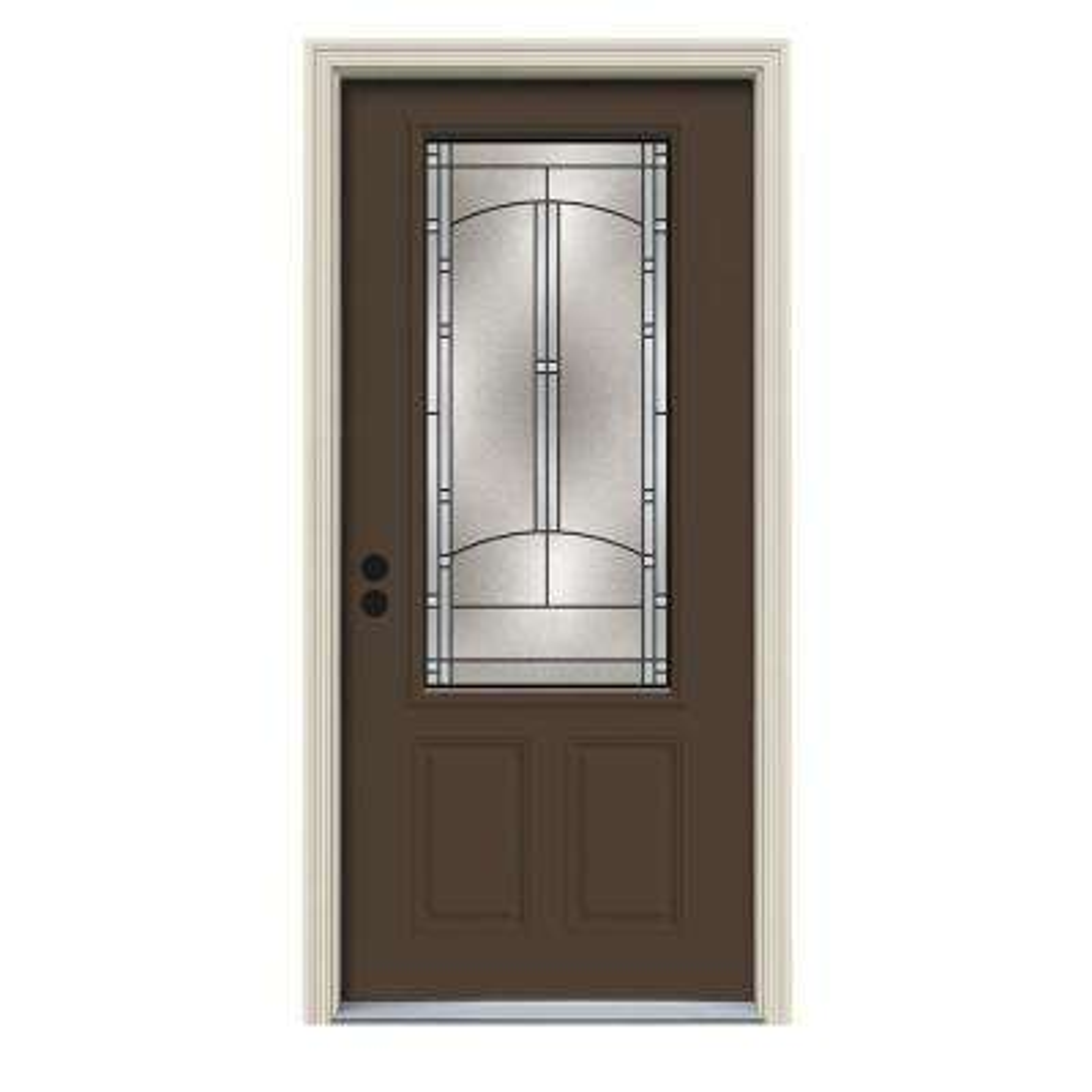36 in. x 80 in. 3/4 Lite Idlewild Dark Chocolate Painted Steel Prehung Right-Hand Inswing Front Door w/Brickmould