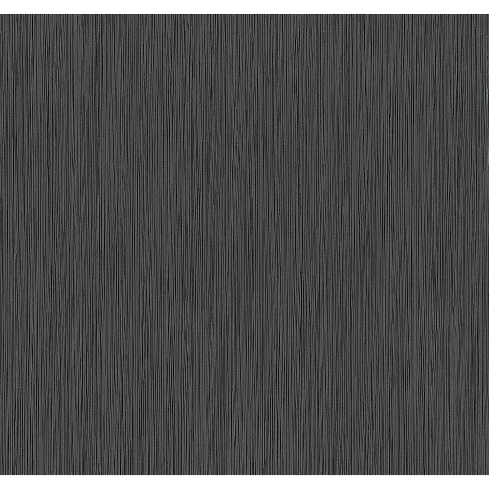8 in. x 10 in. Ellington Black Horizontal Striped Texture Wallpaper Sample