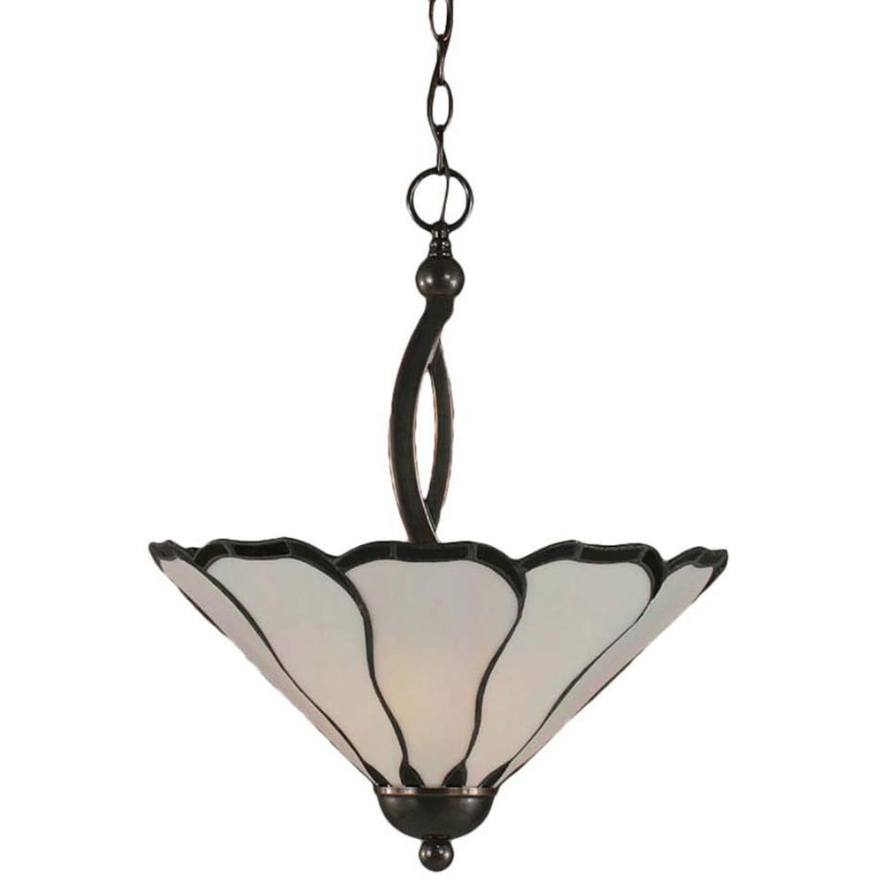 Concord 2-Light Black Copper Pendant with Pearl Flair Tiffany Glass