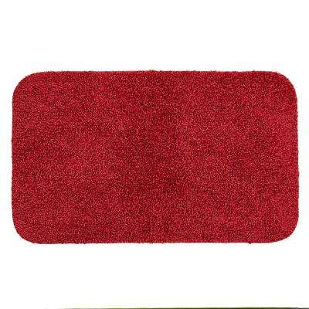 Basic Bath 19.5 in. x 32 in. Nylon Bath Mat in Cranberry Red