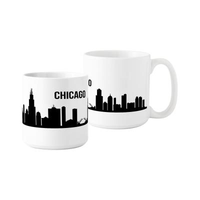 Chicago Skyline 20 oz. White Ceramic Coffee Mugs (Set of 2)