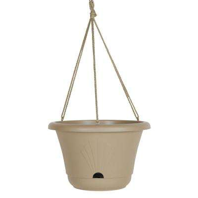 Lucca 13 in. Taupe Plastic Self Watering Hanging Basket