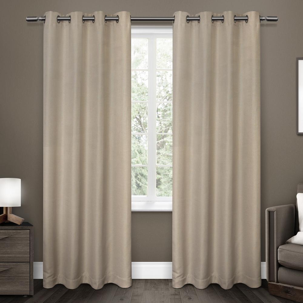 Oakdale Dove Grey Motif Textured Linen Grommet Top Window