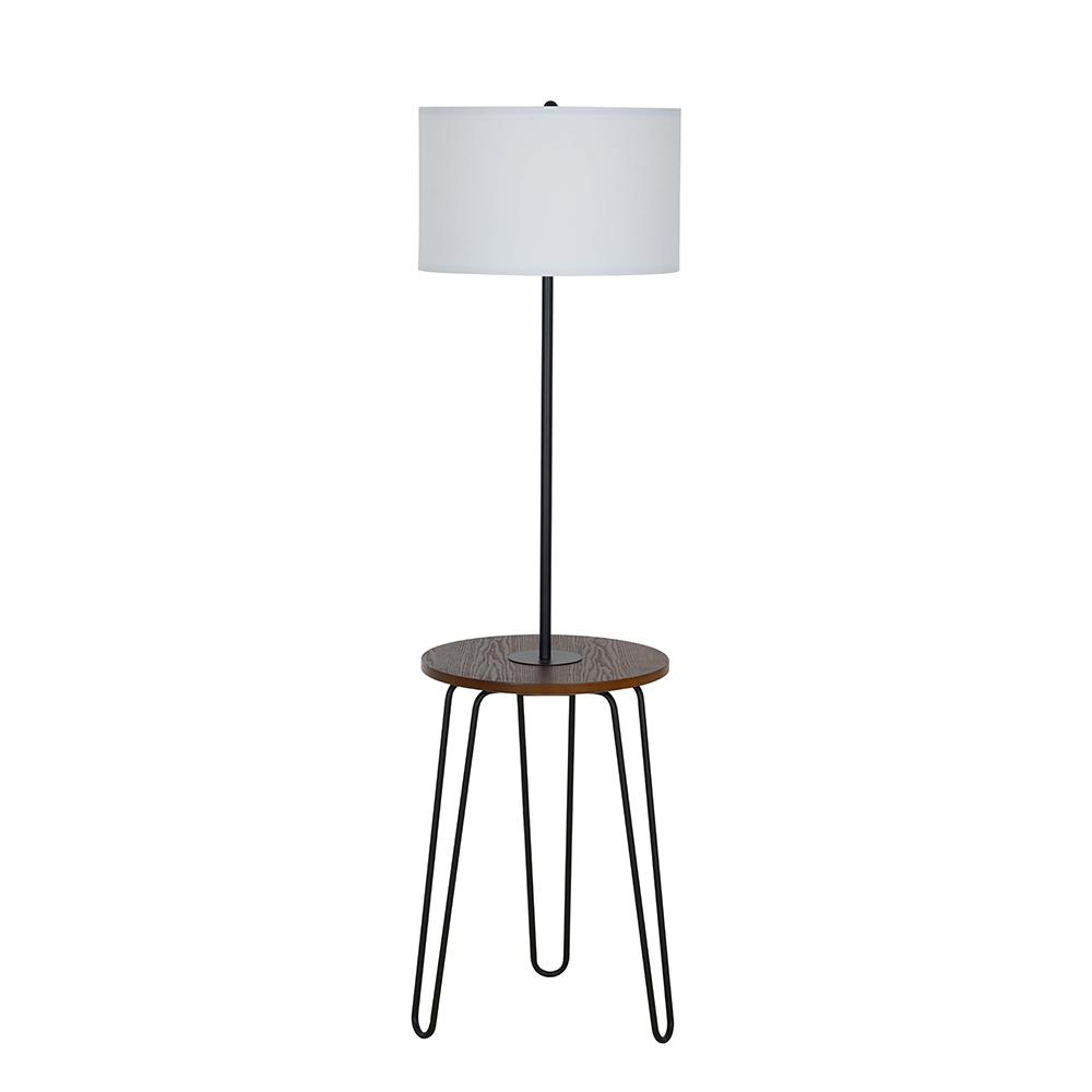 Cresswell 59 In Black Mid Century Modern Floor Lamp With Table