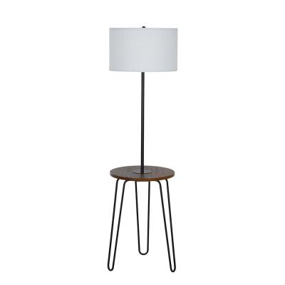 59 in. Black Mid-Century Modern Floor Lamp with table