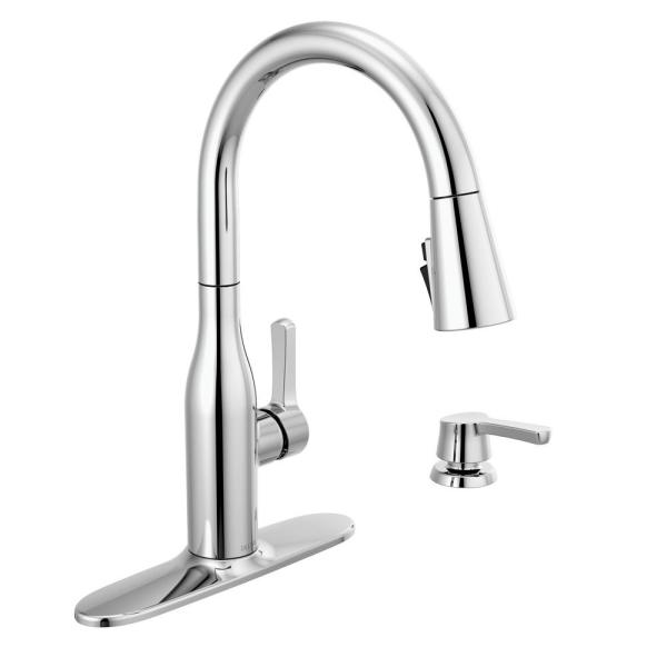 Marca Single-Handle Pull-Down Sprayer Kitchen Faucet with ShieldSpray Technology in Chrome