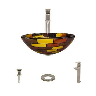 Glass Vessel Sink in Stained Glass with 721 Faucet and Pop-Up Drain in Brushed Nickel