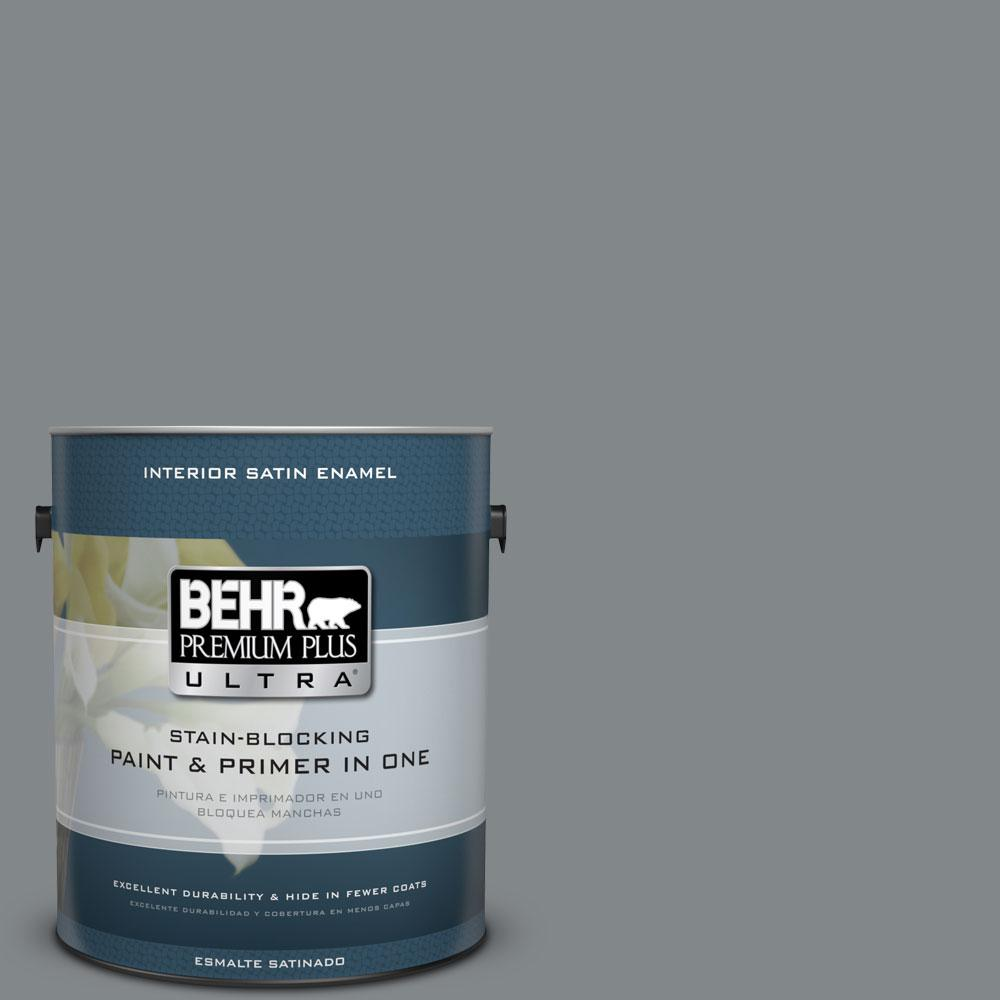 BEHR Premium Plus Ultra 1 gal. #N500-5 Magnetic Gray color Satin Enamel Interior Paint and Primer in One