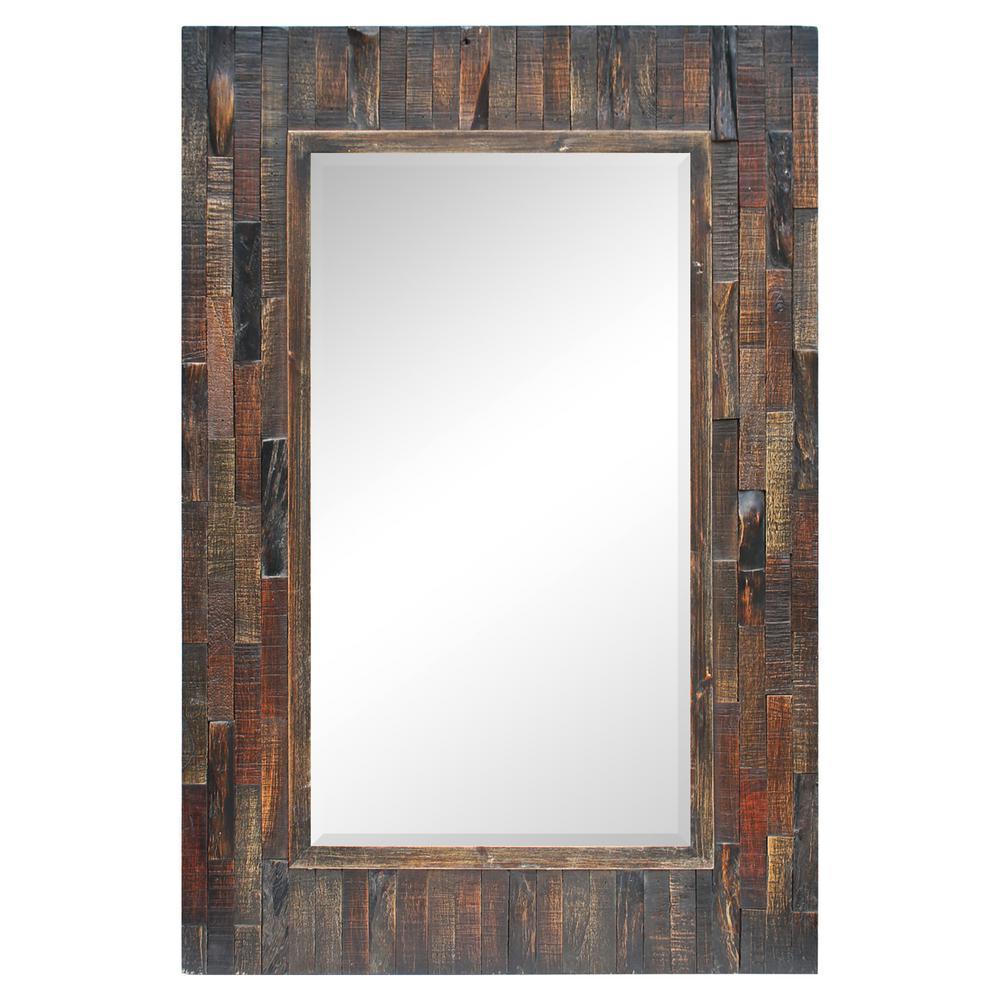 Medium Rectangle Dark Brown Beveled Glass Art Deco Mirror (36 in. H x 24 in. W)