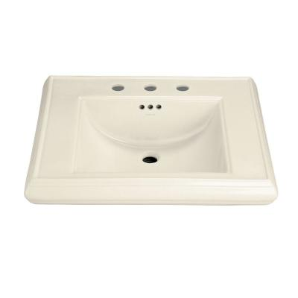 Memoirs 5-3/8 in. Ceramic Pedestal Sink Basin in Almond with Overflow Drain