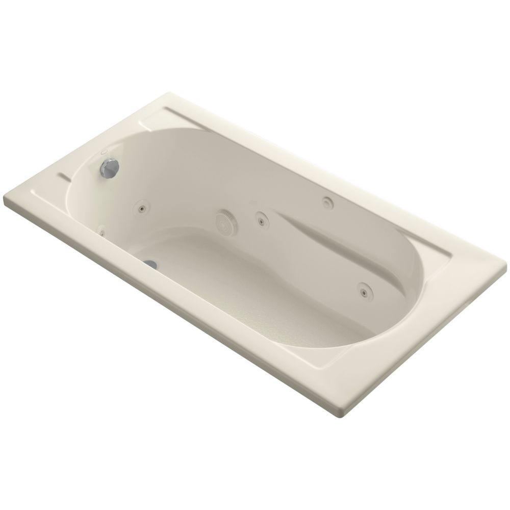KOHLER Devonshire 5 ft. Acrylic Reversible Drain Rectangular Drop-In Whirlpool Bathtub in Almond