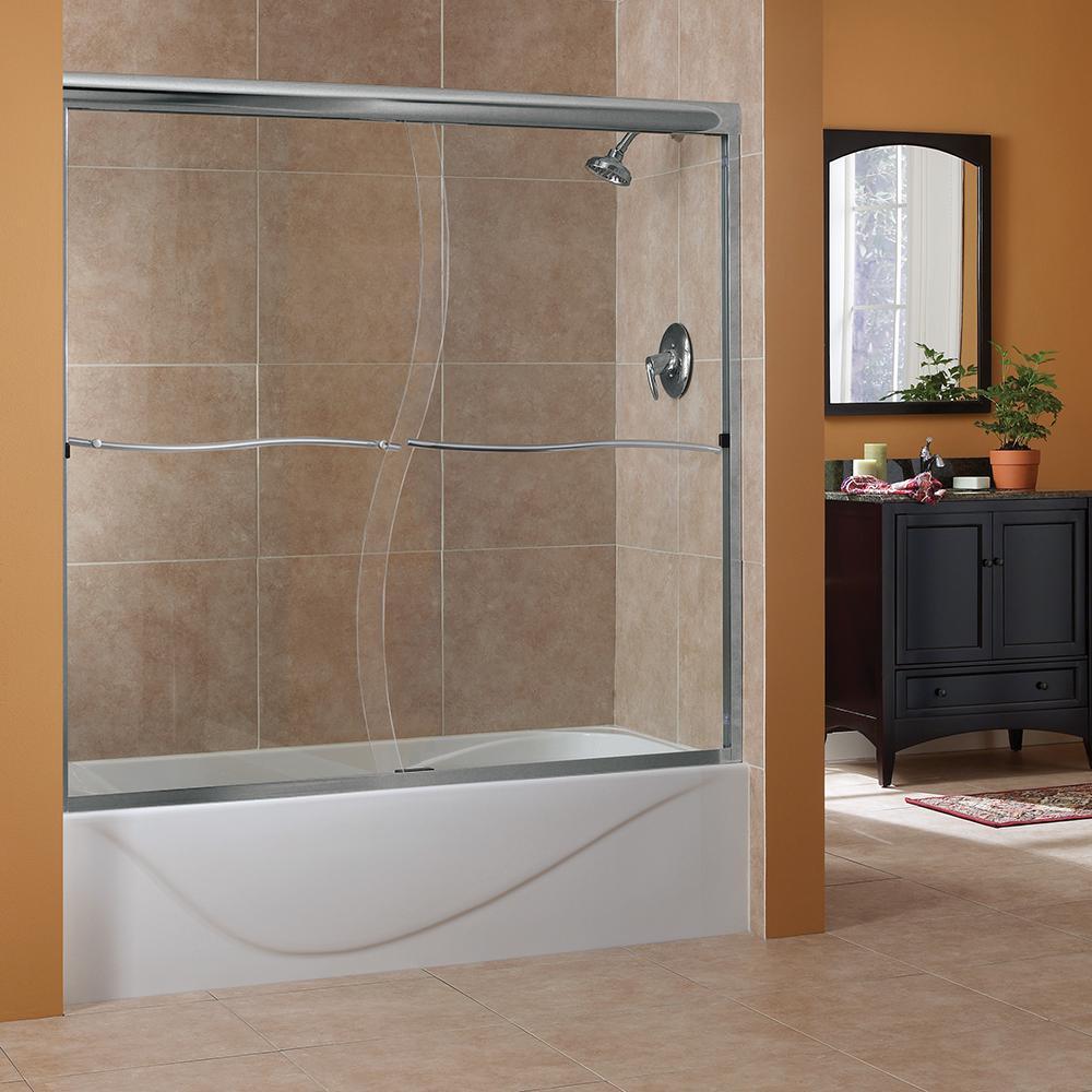 Cove 60 in. W x 60 in. H Frameless Sliding Tub Door in Brushed Nickel