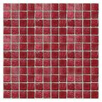 Egyptian Glass Crimson 12 in. x 12 in. x 6 mm Glass Face-Mounted Mosaic Wall Tile