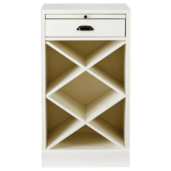 Home Decorators Collection Quentin White Modular Bar Base with Wine Rack