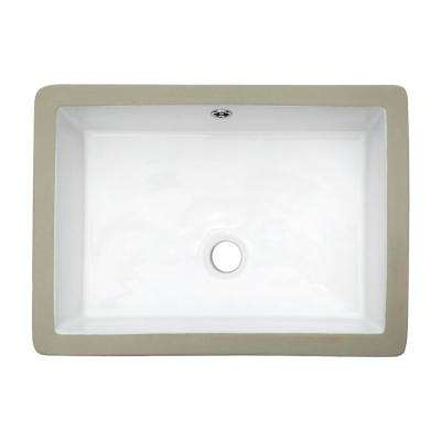 20 in. x 14 in. Rectangle Undermount Sink Porcelain Ceramic Lavatory Vanity Bathroom Sink in Pure White