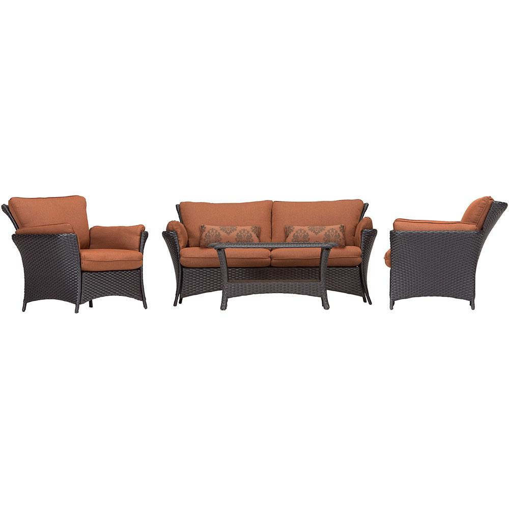 Strathmere Allure 4-Piece Patio Conversation Set with Woodland Rust Cushions