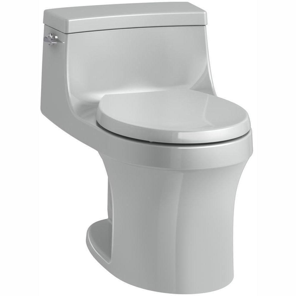 San Souci 1-piece 1.28 GPF Single Flush Round Toilet in Ice Grey