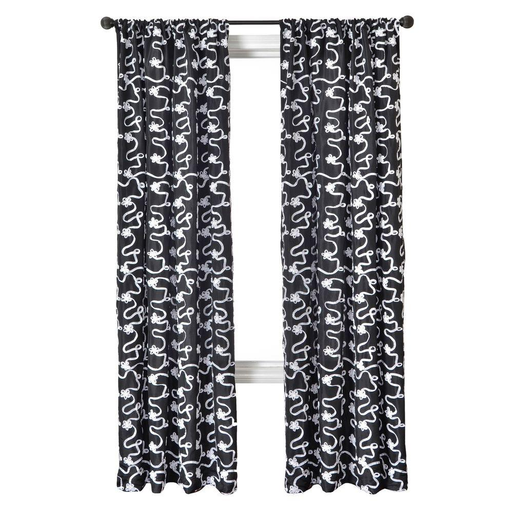 Home Decorators Collection Sheer Black/White Bliss Rod Pocket Curtain - 54 in.W x 96 in. L