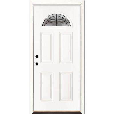 37.5 in. x 81.625 in. Rochester Patina Fan Lite Unfinished Smooth Right-Hand Inswing Fiberglass Prehung Front Door