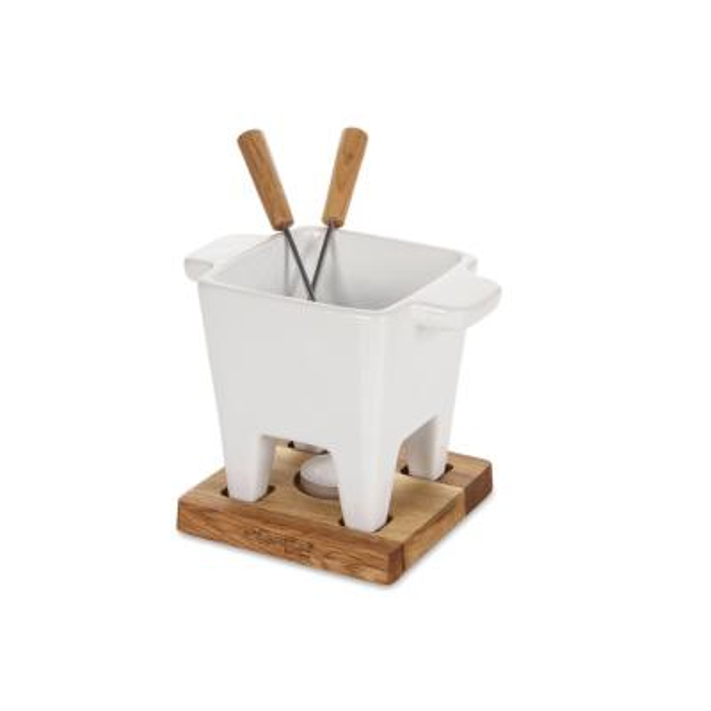Ceramic and Oak Candle Light Mini Tapas Fondue Set
