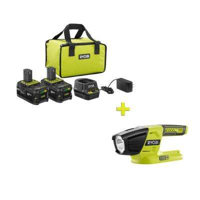 18-Volt ONE+ High Capacity 4.0 Ah Battery (2-Pack) Starter Kit with Charger and Bag with FREE ONE+ LED Light