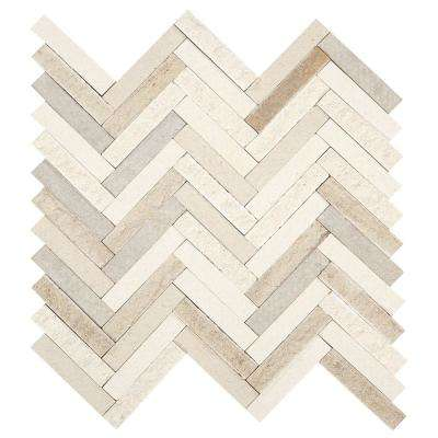 Premier Accents Beige Blend Chevron 10 in. x 12 in. x 8 mm Stone Mosaic Tile