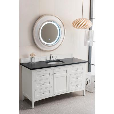 Palisades 60 in. Single Bath Vanity in Bright White with Quartz Vanity Top in Charcoal Soapstone with White Basin