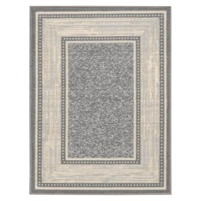 Ottohome Collection Contemporary Bordered Design Gray 2 ft. 3 in. x 3 ft. Area Rug